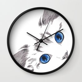 Cat face up animal portrait Wall Clock