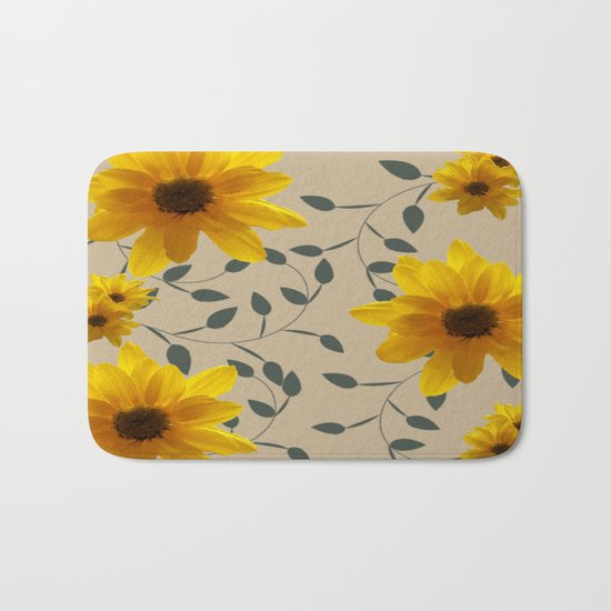Yellow Flowers and Vines Bath Mat