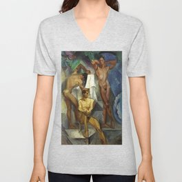 Young Bathers by George Pauli Nude Male Art Unisex V-Neck