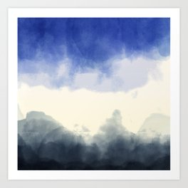 Abstract watercolor navy blue gray ivory ombre Art Print