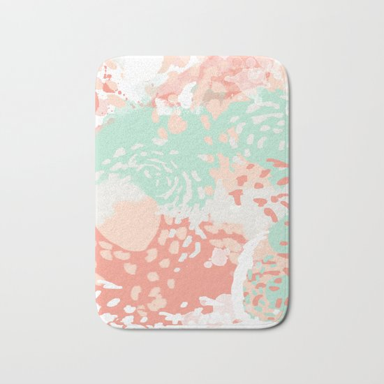 Pippa - Abstract minimal painted pastels painting trendy modern color palette Bath Mat
