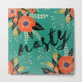 Nasty - Poppy Floral Teal Metal Print