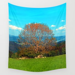 Lonely old tree in springtime scenery Wall Tapestry