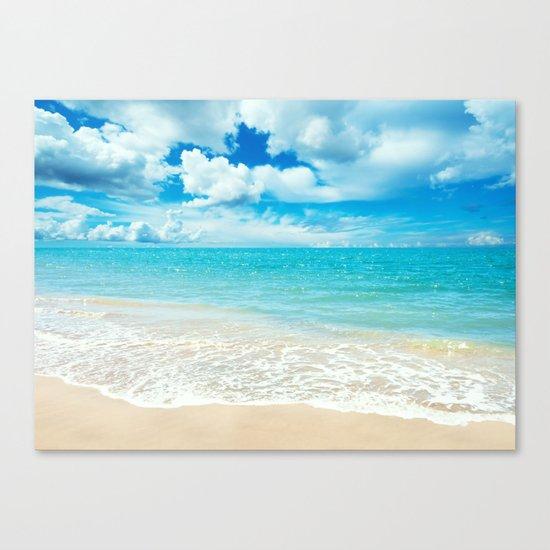 Beach - Ocean - Clouds - Water - Waves Canvas Print