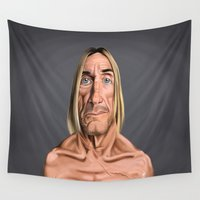 iggy Wall Tapestries featuring Celebrity Sunday ~ Iggy Pop by rob art | illustration