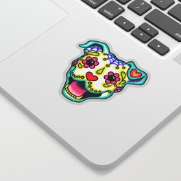 Smiling Pit Bull in White - Day of the Dead Pitbull Sugar Skull Sticker