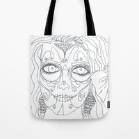 day of the dead Tote Bags featuring Day of the Dead by MTHARU