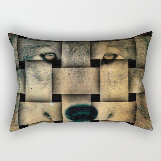 Woven Wolf Rectangular Pillow