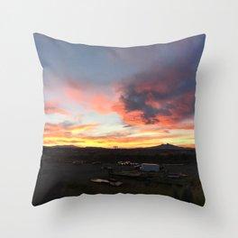 Cody Sunset Over Heart Mountain Throw Pillow