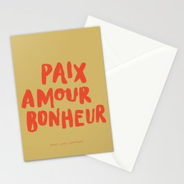 Paix Amour Bonheur French Brushlettered Quote Stationery Cards