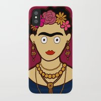 frida kahlo iPhone & iPod Cases featuring Frida Kahlo by evannave