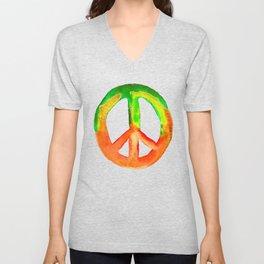 Watercolor Tie Dye Peace Sign Green Orange Yellow Unisex V-Neck