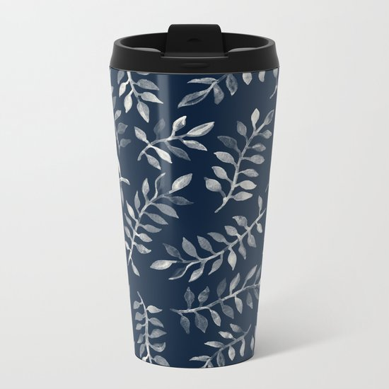 White Leaves on Navy - a hand painted pattern Metal Travel Mug
