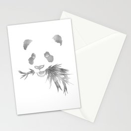 Panda Bear & Bamboo - Silver Stationery Cards