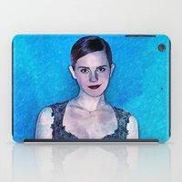 emma stone iPad Cases featuring Emma Watson - Blue by André Joseph Martin