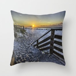 Sand Covered Steps Throw Pillow