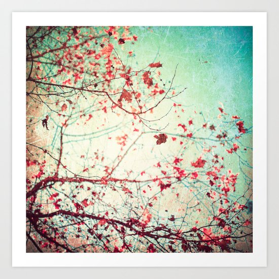 Even in Dreams, Atumn Fall, Textured Sky, Vintage Nature, Blue Pink Red  Art Print