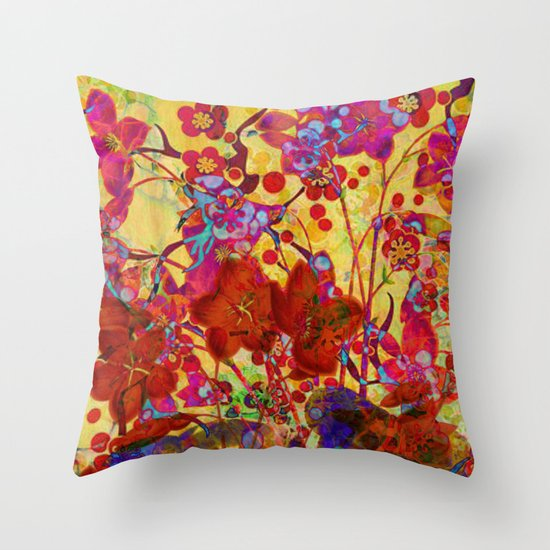floral on yellow Throw Pillow