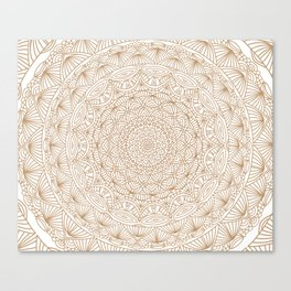 Brown Tan Intricate Detailed Hand Drawn Mandala Ethnic Pattern Design Canvas Print