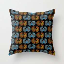 Egyptian Scarab Beetle Pattern - Gold  Blue  and red glass Throw Pillow