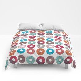Colourful, illustrated, glazed, sprinkle Donut pattern Comforters