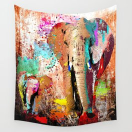 African Elephant Family Painting Wall Tapestry