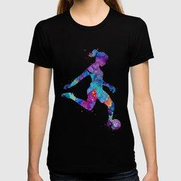 Soccer Girl Player Watercolor Art Gift Sports Art T-shirt