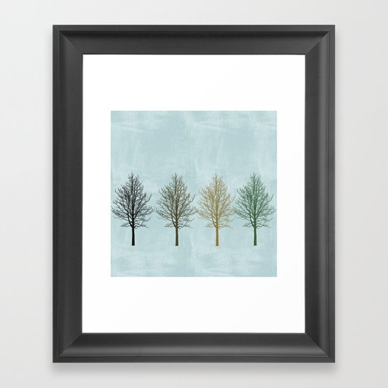 Four Colors Trees Framed Art Print