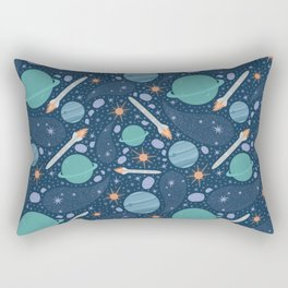 Blue and green planets with cosmic rockets and asteroids Rectangular Pillow