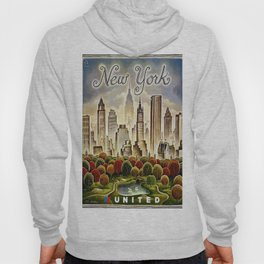 Vintage New York Central Park United Airlines Advertisement Poster Hoody