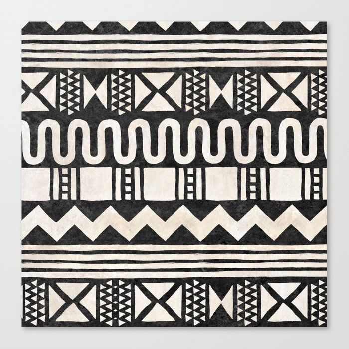 African Shapes - Black Canvas Print
