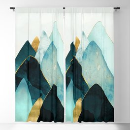 Gold and Blue Hills Blackout Curtain