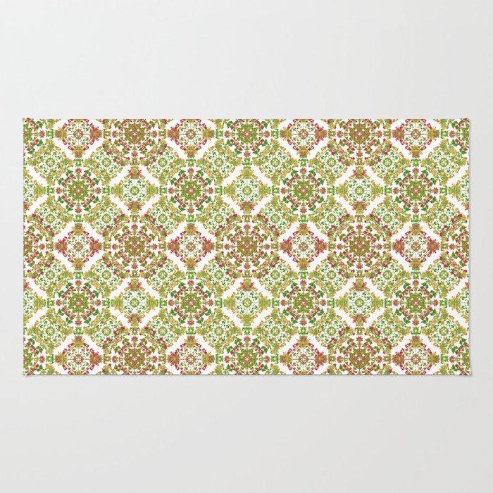 Colorful Stylized Floral Boho Rug