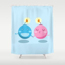 Our love is the bomb Shower Curtain