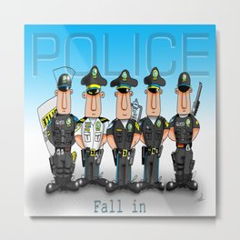 Police Fall in Metal Print