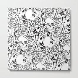 Skull and Rose Print Metal Print