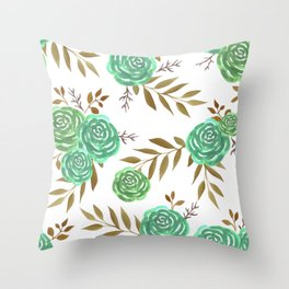 Green vintage roses watercolor Throw Pillow