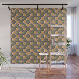 3D ORANGE AND BLUE WAVES Wall Mural