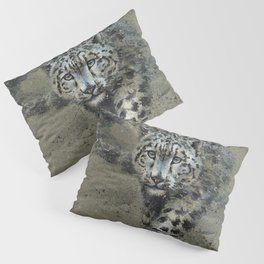 Snow leopard background Pillow Sham