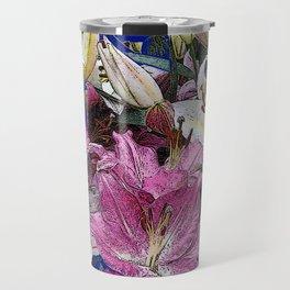 PURPLE & WHITE ASIAN GARDEN LILIES DRAWING Travel Mug