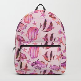 Soft pink underwater fisch scenery Backpack