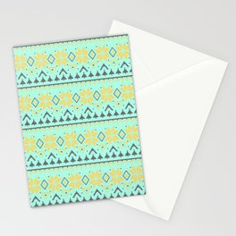 Knitted Christmas pattern turquoise Stationery Cards