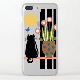 Cat on the windowsill Clear iPhone Case