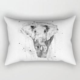 Elephant, watercolor black and white Rectangular Pillow