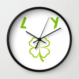 St. Patrick's Four-Cleaf Clover Tee Saying Lucky Fuck You T-shirt Design Irish Celebrate Party Wall Clock