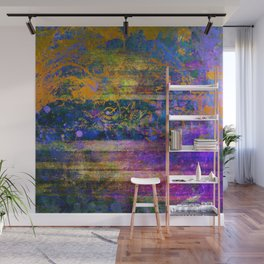 Cobalt Orange and Purple Grunge Abstract Wall Mural