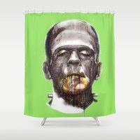frankenstein Shower Curtains featuring Frankenstein by beart24