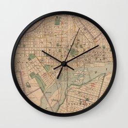 Vintage Map of Richmond Virginia (1876) Wall Clock
