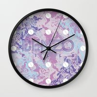 kenzo Wall Clocks featuring Benzo Pills by chobopop