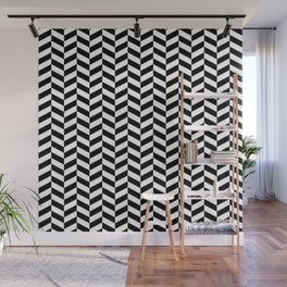 Black and White Herringbone Pattern Design Wall Mural